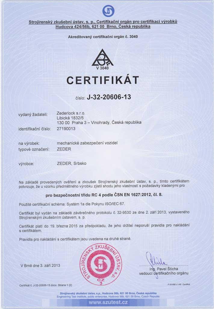 Certifikát RC 4 podle ČSN EN 1627:2012 - Strojírenský zkušební ústav
